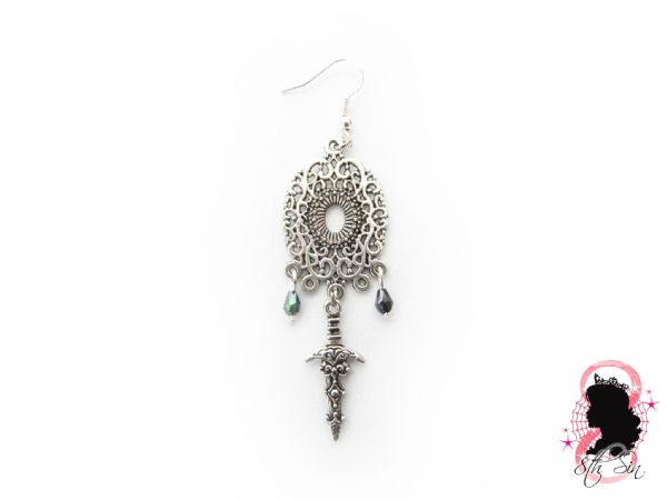 Antique Silver Chandelier Dagger Earrings